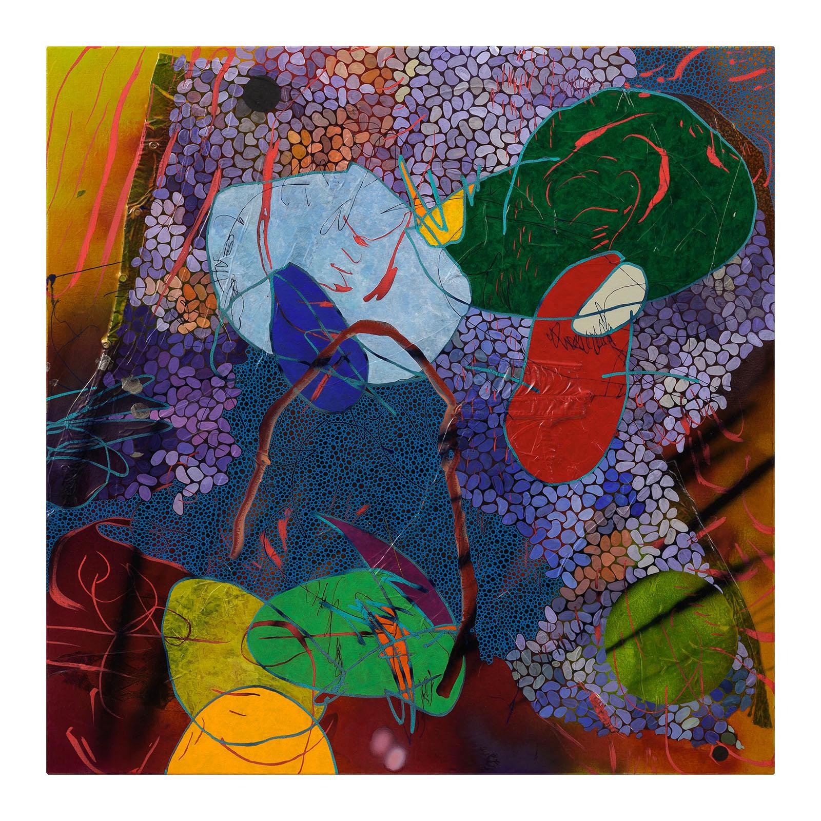 Evan Woodruffe, 9th February 2019, 100cm x 100cm, acrylic, fabric, gold leaf and mica on linen.jpg