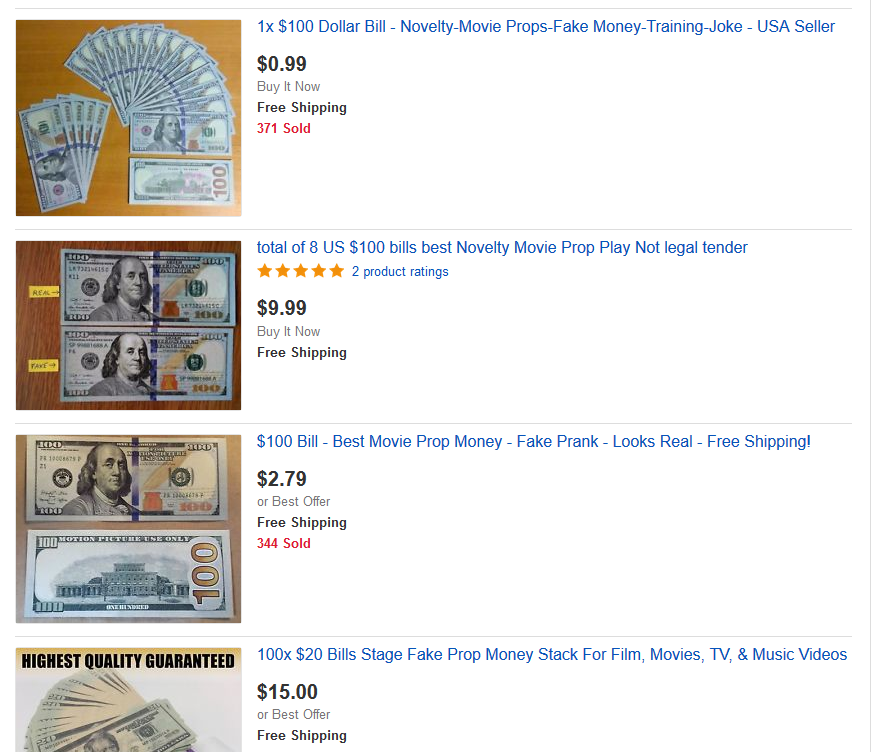 Numerous eBay listings for movie-prop cash