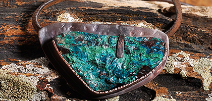 Chrysocolla Gemstone Copper Pendant