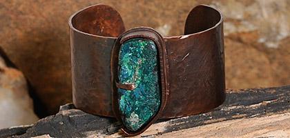 Chrysocolla Copper Cuff Bracelet