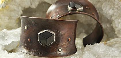 Garnet Gemstone on Silver and Copper Cuff Bracelet