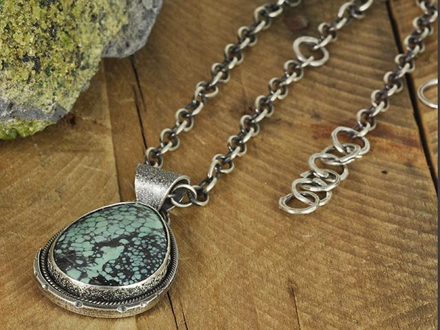 Tree Frog Variscite Sterling Silver Necklace