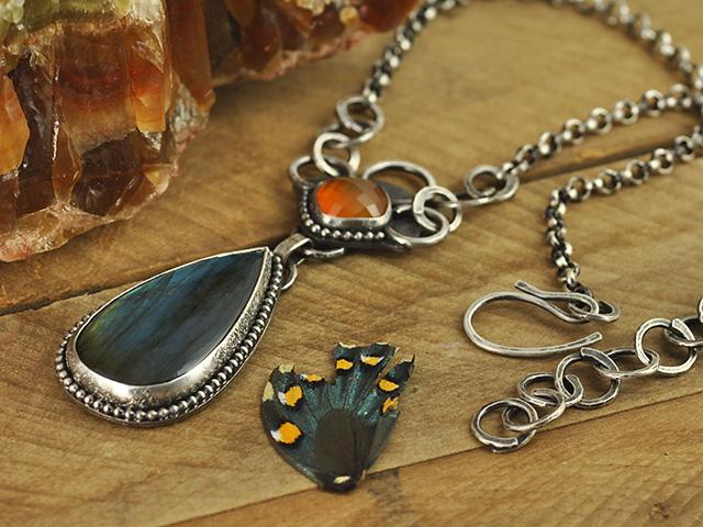 Labradorite & Carnelian Sterling Silver Necklace