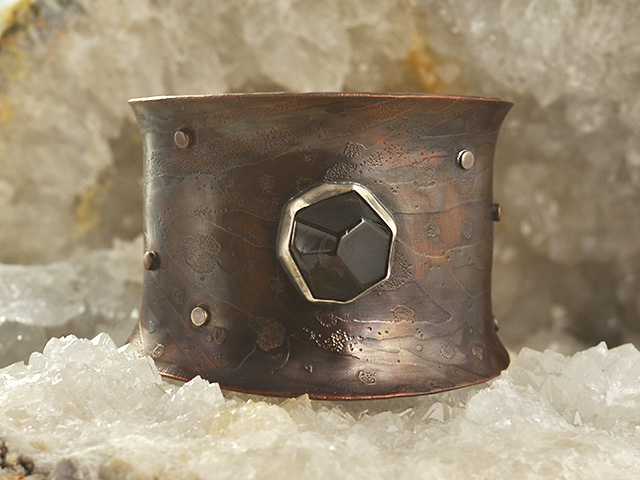 Garnet Gemstone Copper Cuff Bracelet