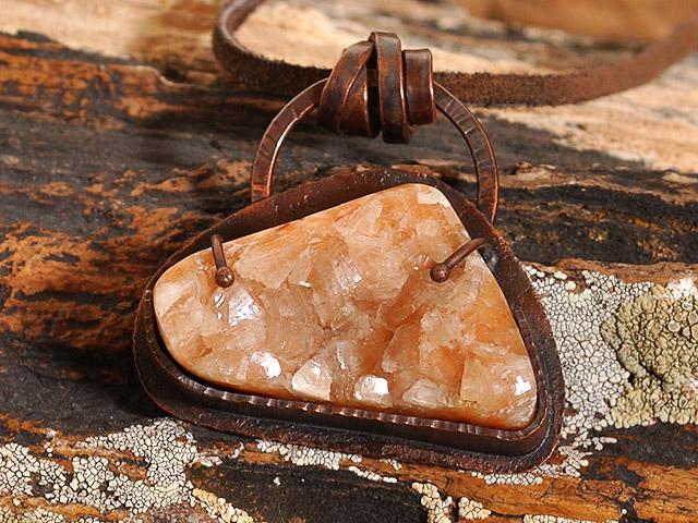 Zeolite Crystal Cluster Copper Pendant
