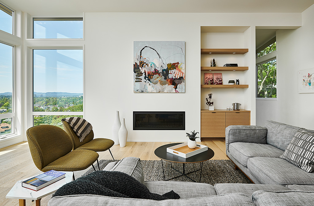 Modern Living Room of Rebuilt Modern House design and rebuild on steep lot on Gonzales Hill in Victoria BC by MDRN Built