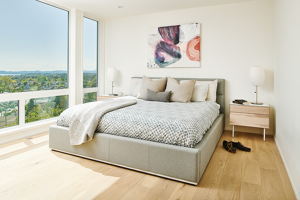 Master Bedroom of Rebuilt Modern House design and rebuild on steep lot on Gonzales Hill in Victoria BC by MDRN Built