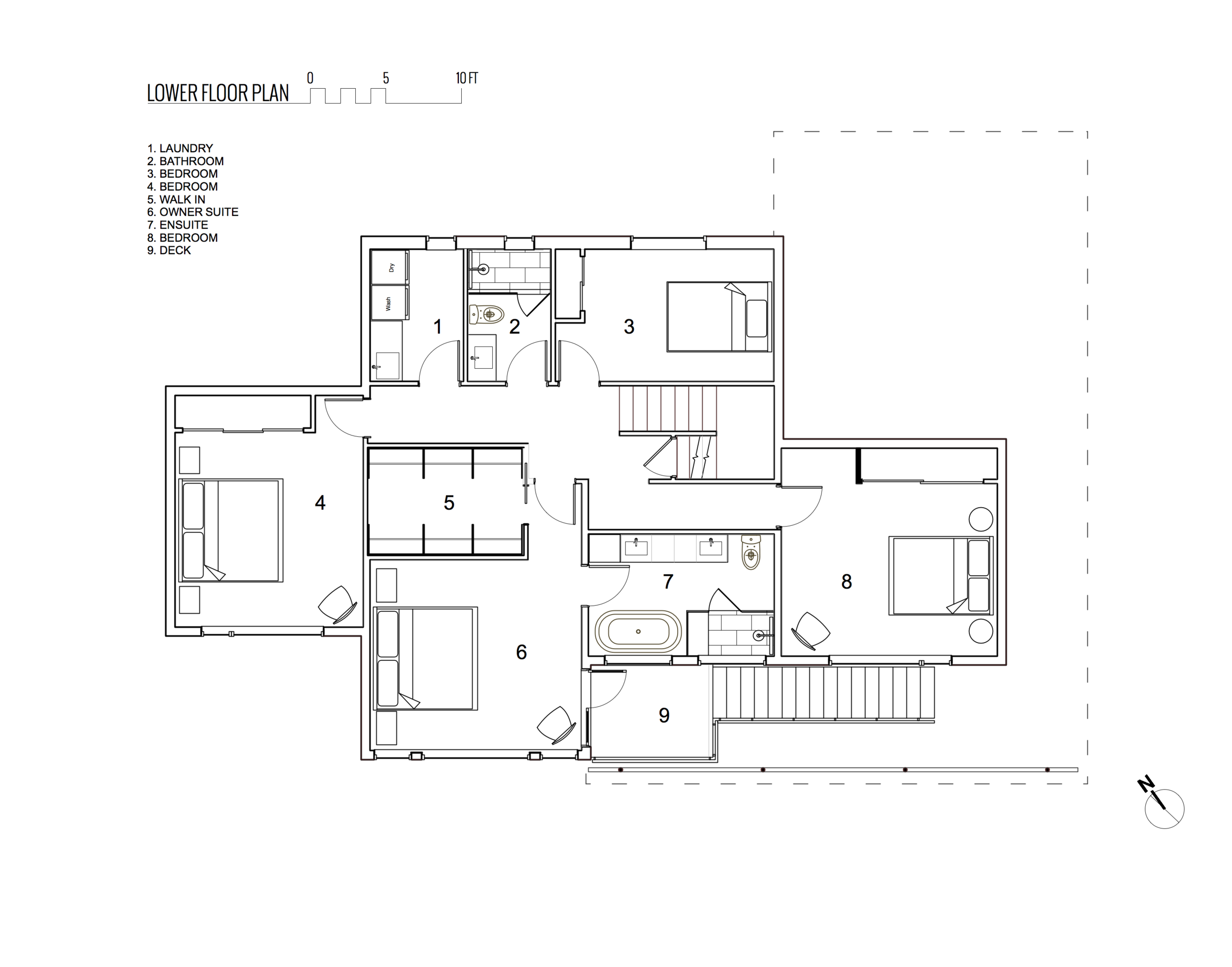 Lower Floor Plan of Rebuilt Modern House design and rebuild on steep lot on Gonzales Hill in Victoria BC by MDRN Built