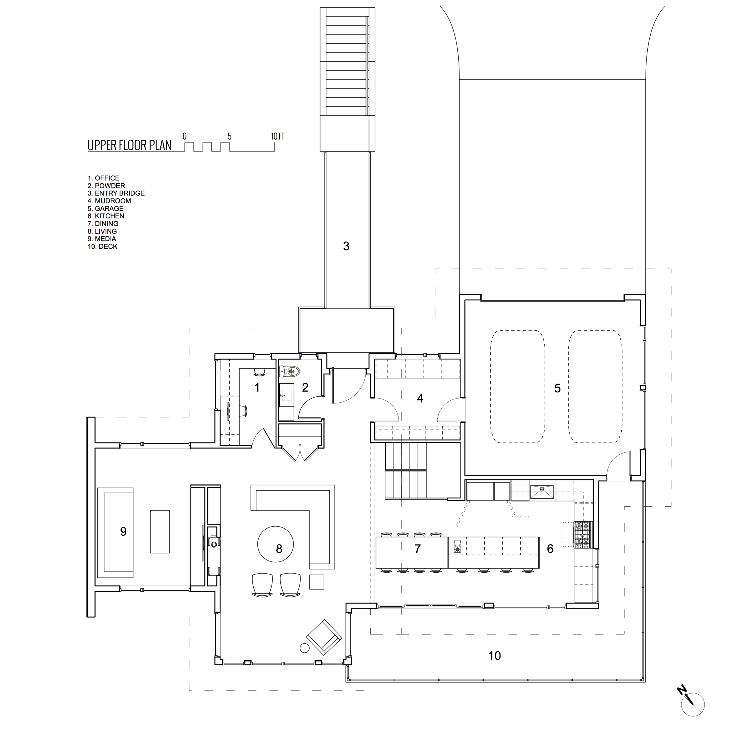 Upper Floor Plan of Rebuilt Modern House design and rebuild on steep lot on Gonzales Hill in Victoria BC by MDRN Built