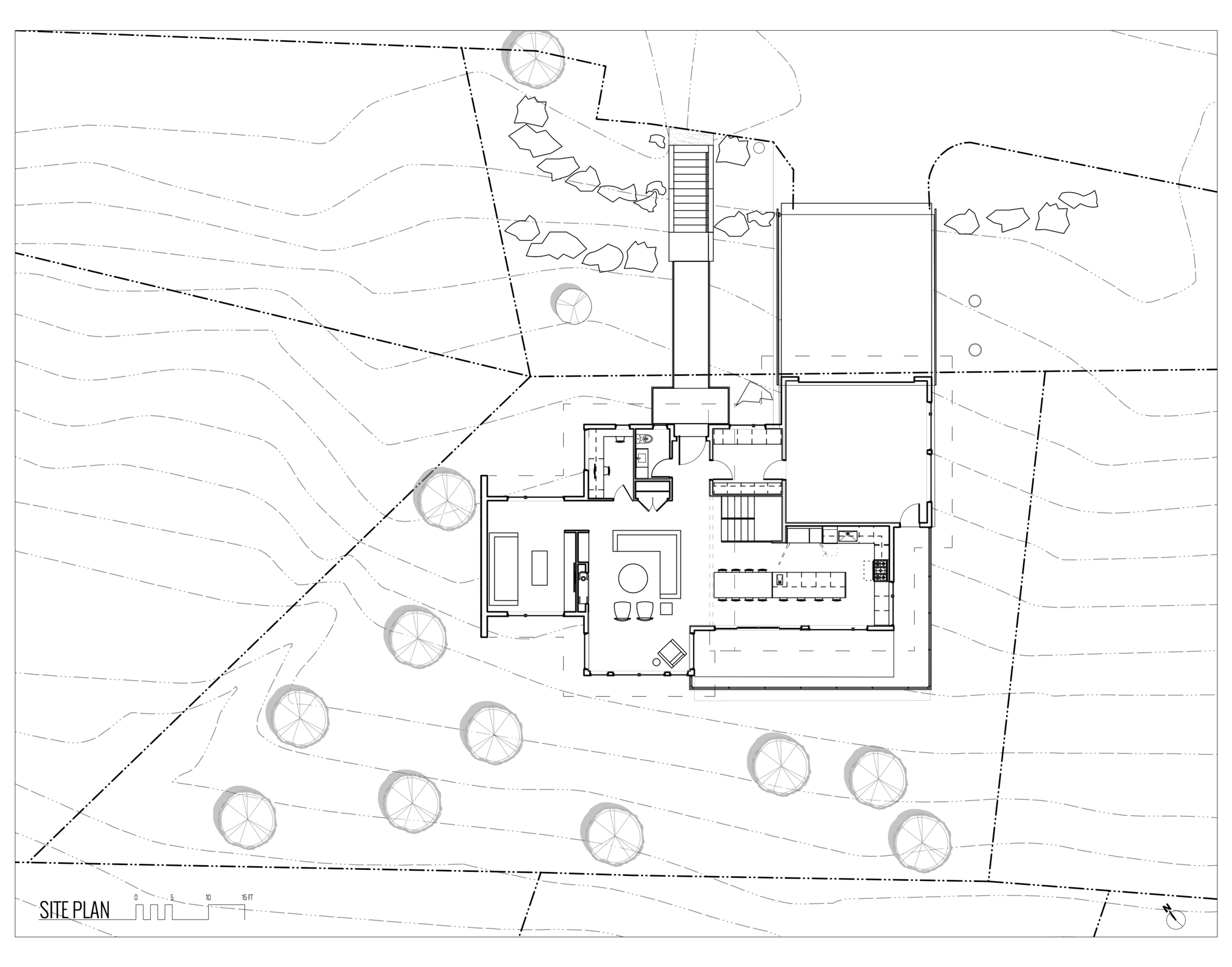 Site Plan of Rebuilt Modern House design and rebuild on steep lot on Gonzales Hill in Victoria BC by MDRN Built