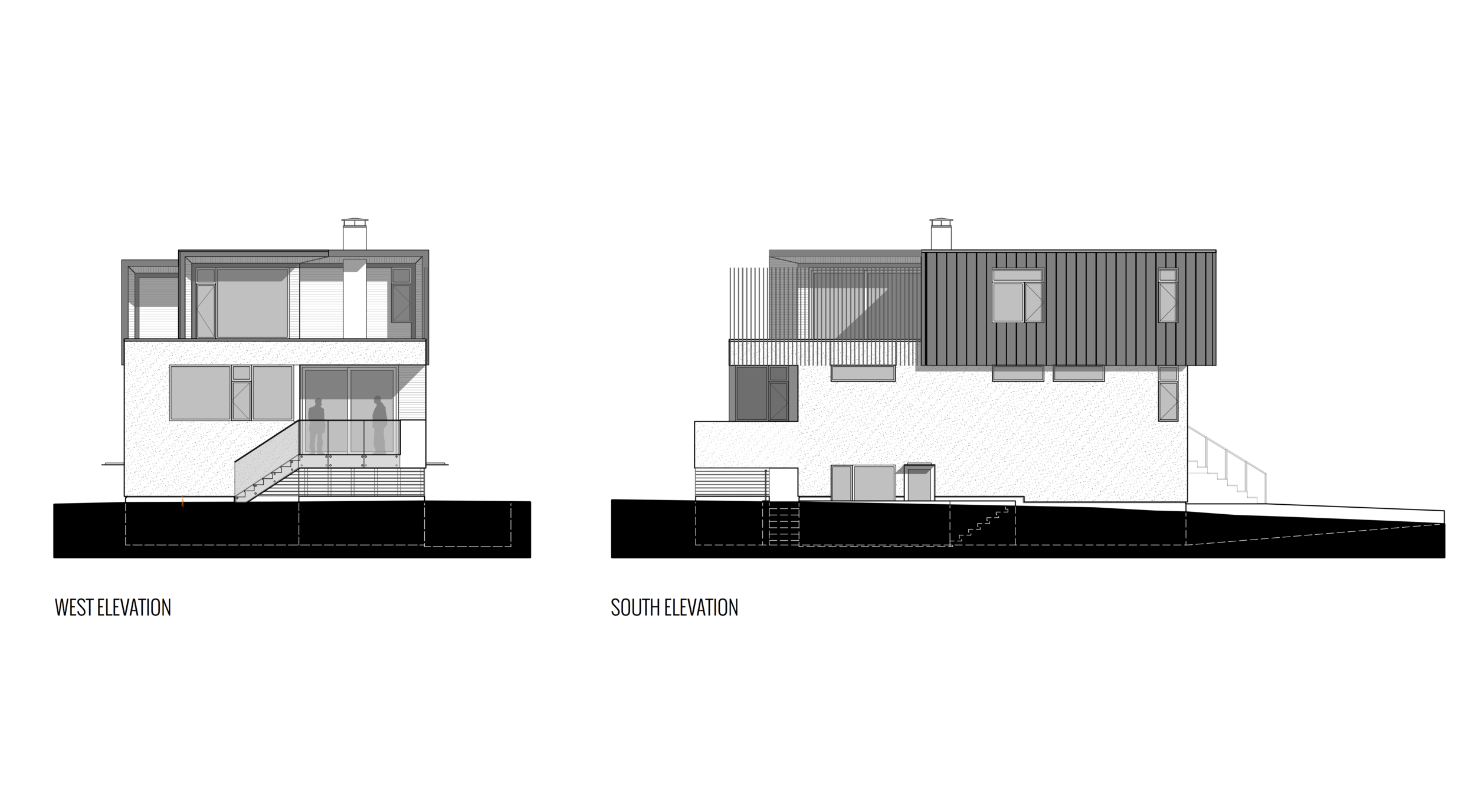 West and South Views of New Modern House designed and built for an interior urban lot on Clare Street in Victoria BC by MDRN Built