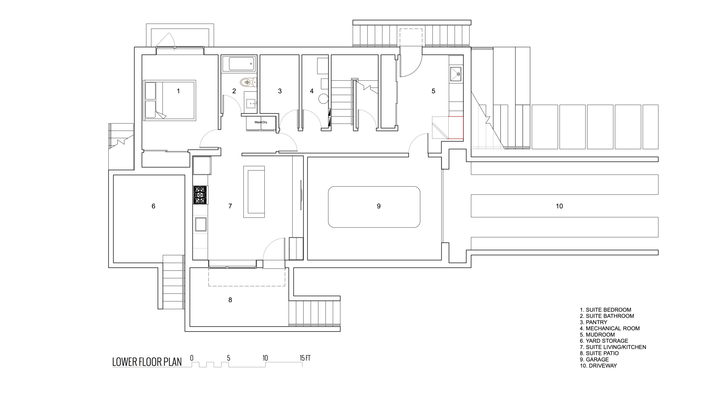 Lower Floor Plan of New Modern House designed and built for an interior urban lot on Clare Street in Victoria BC by MDRN Built