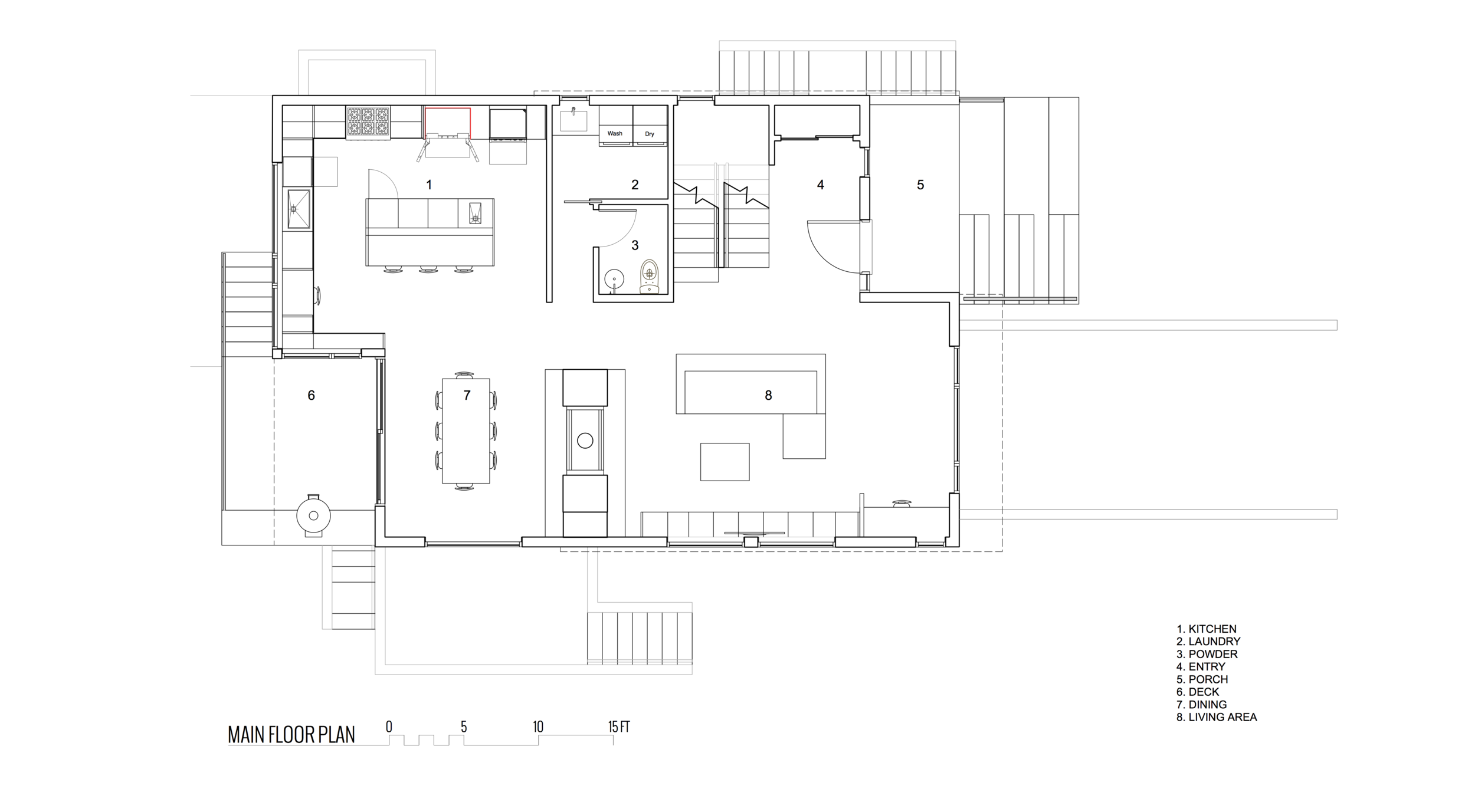 Main Floor Plan Front View of New Modern House designed and built for an interior urban lot on Clare Street in Victoria BC by MDRN Built
