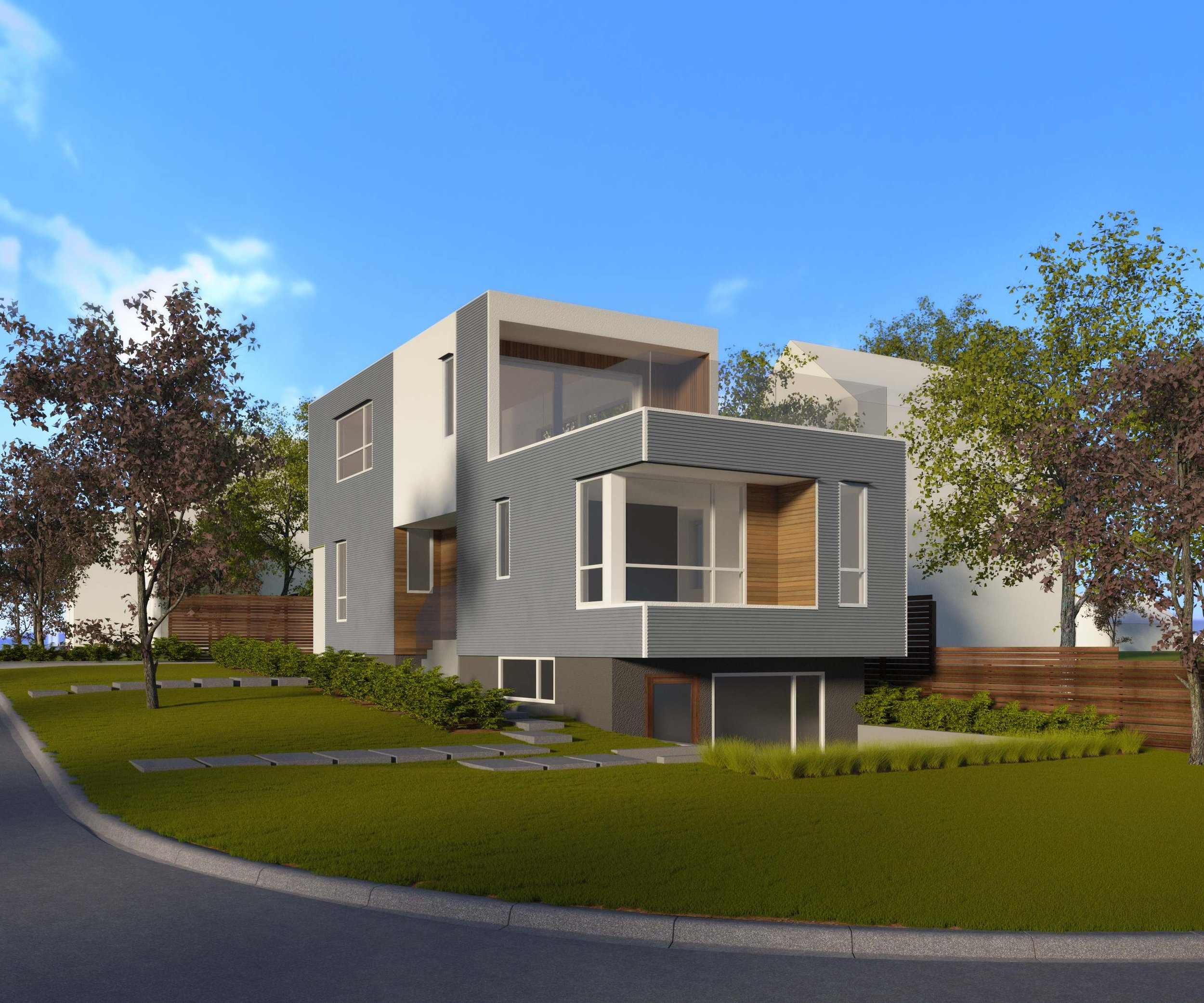 Front View of Sturdee Street Duplex - a Modern duplex designed and built in Saxe Point, Victoria BC
