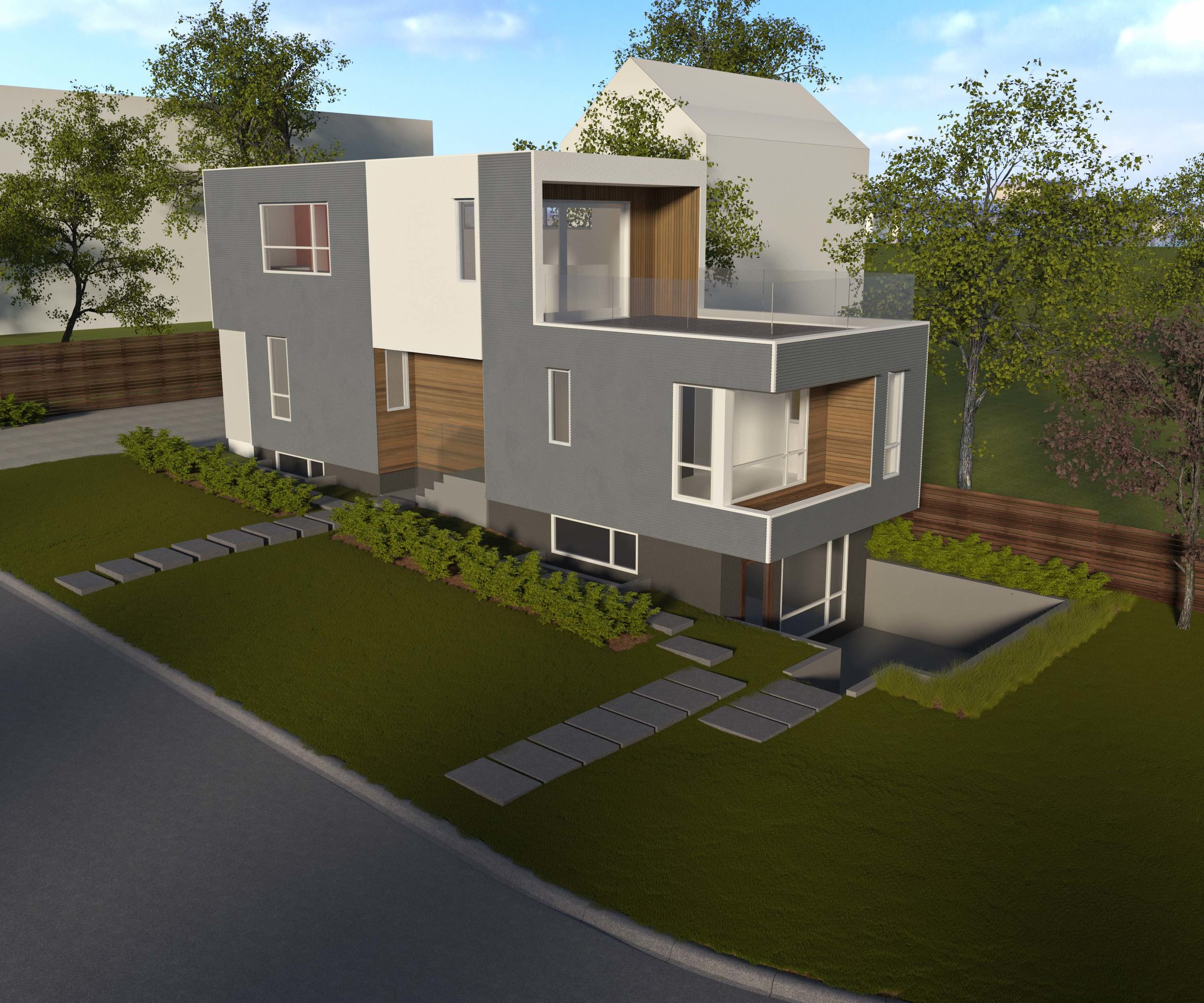 Side View of Sturdee Street Duplex - a Modern duplex designed and built in Saxe Point, Victoria BC