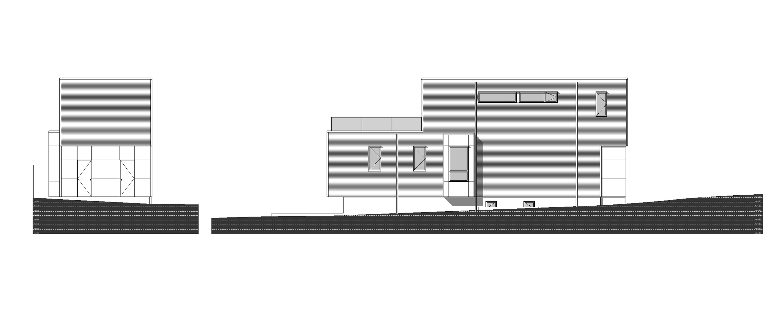 Rear and Side Elevation of Sturdee Street Duplex - a Modern duplex designed and built in Saxe Point, Victoria BC