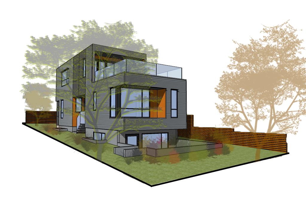 Backyard Landscape Plan of Sturdee Street Duplex - a Modern duplex designed and built in Saxe Point, Victoria BC