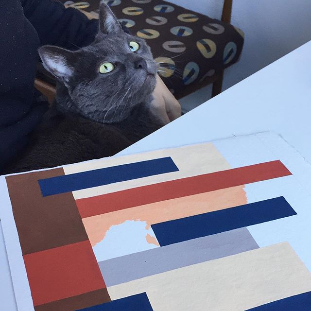 #happycaturday Pretty difficult to paint straight lines with this cat not leaving me alone! I do love my little Ernest #studiocat but gee-whiz lately he just HAS to be on my lap NON STOP while I'm working and that is not good for precise work #startagain #designerproblems . . #caturday #design #studio #designstudio #designerslife #catsofinsta