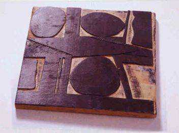 Figure 14. Woodblock for the Woodcut Three Ovals, ca. late 1960s-early 1970s