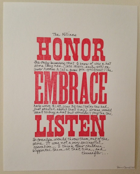 """""""The Milliners,"""" by Diane Cherr, 2017, letterpress embellished with marker, 10"""" h x 8""""w."""