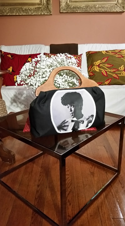 """Jonelle Monae - Feminist,"" Who's Your Hero Series, by Sara Bunn, 2016, Textile Wearable Art Purse, 8"" x 14"""