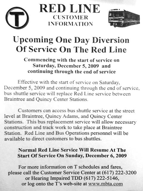 Original Red Line Service Advisory