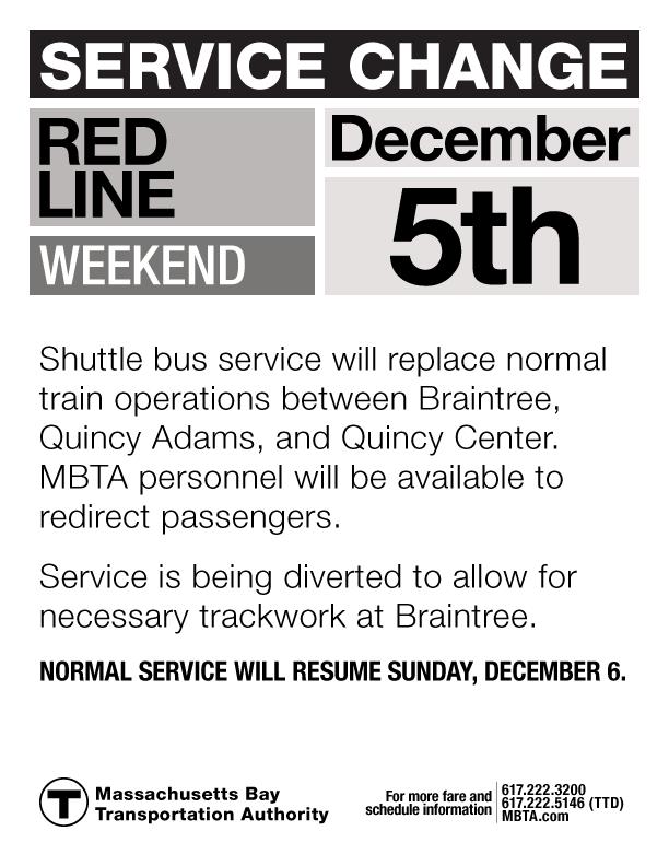 Revised Red Line Service Change Notice