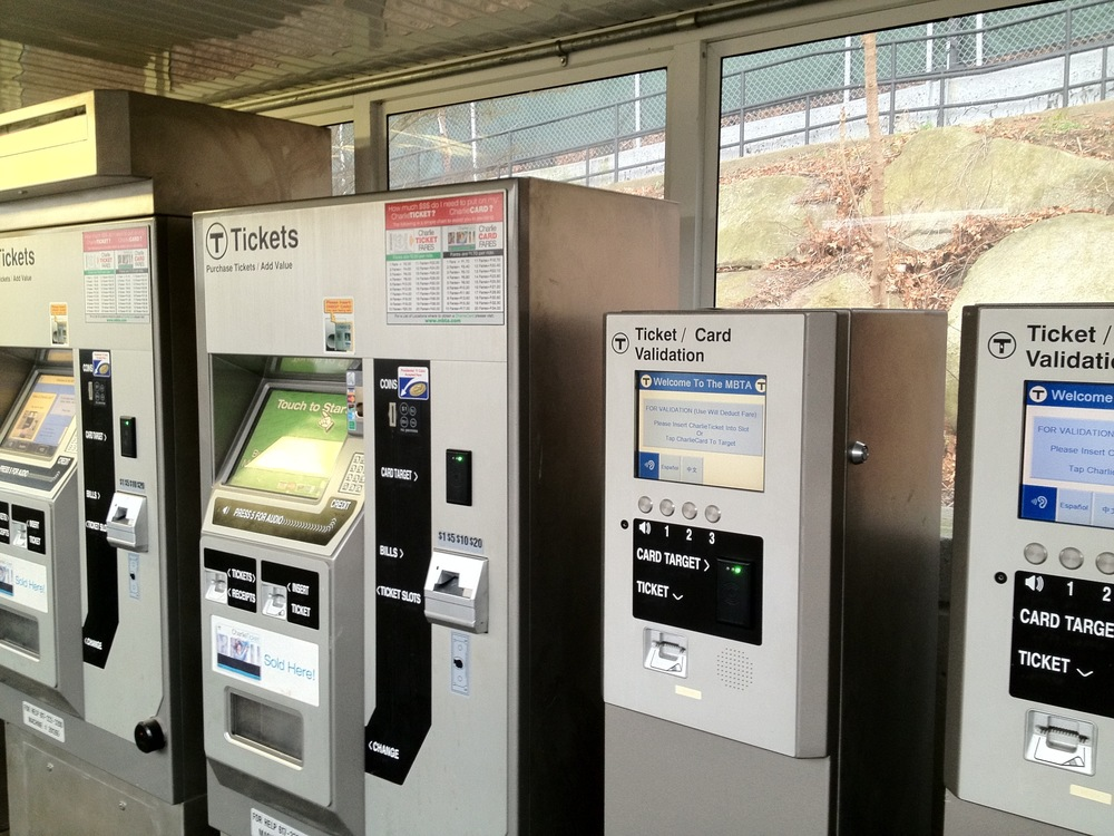 The ticket vending machines at Resevoir on the D Line next to the validation machines.