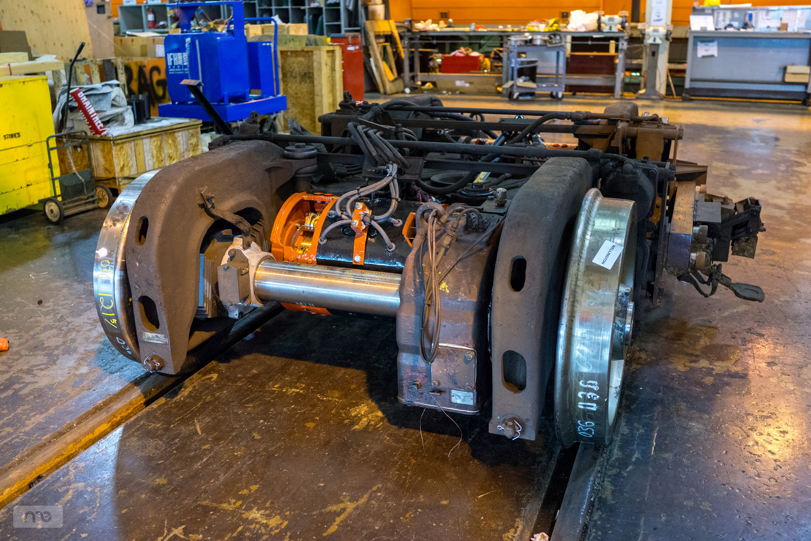 A renewed bogie constructed of renewed parts supplied by the Everett shops.