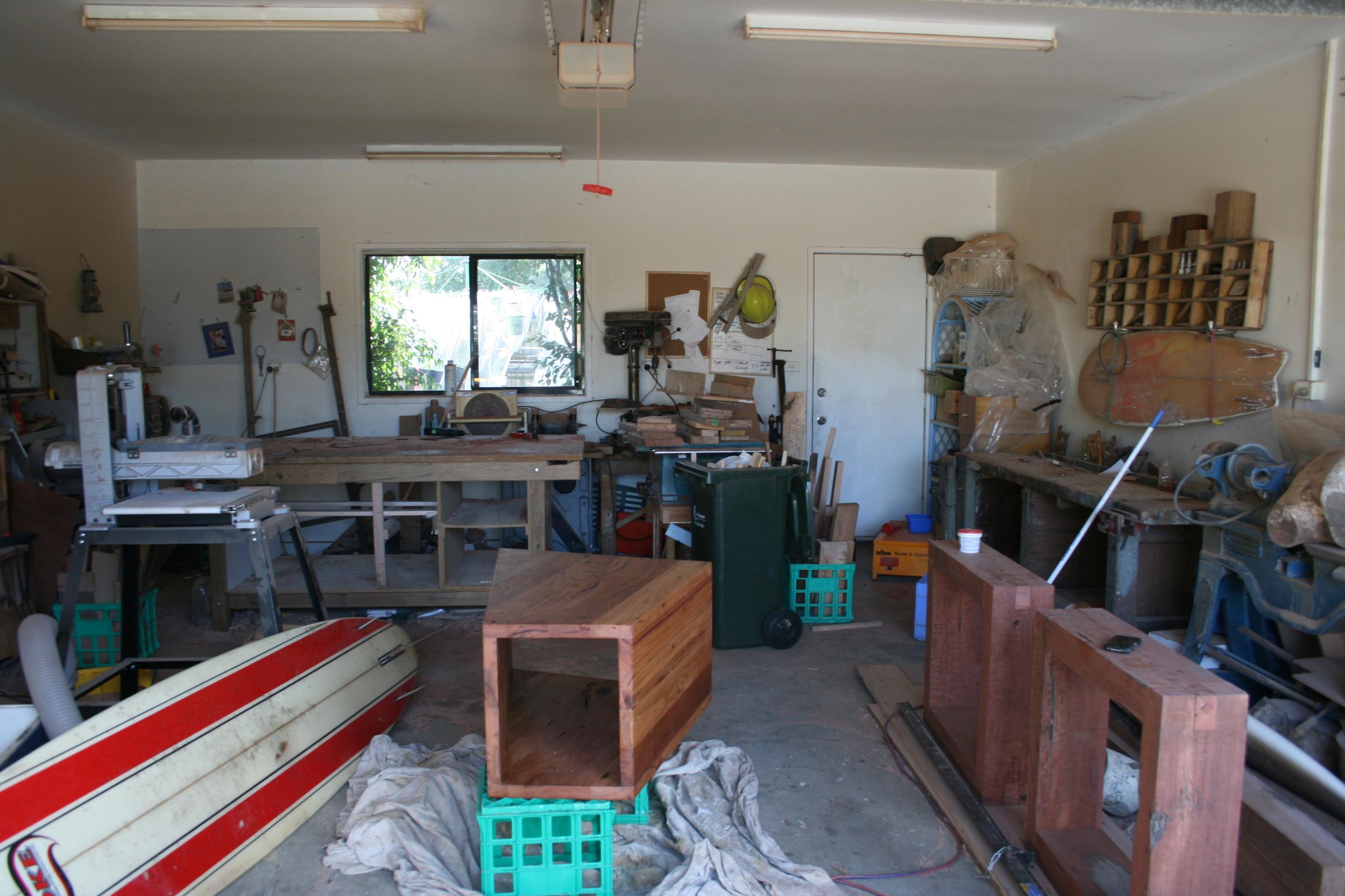 Make shift workshop in our Garage in Torquay