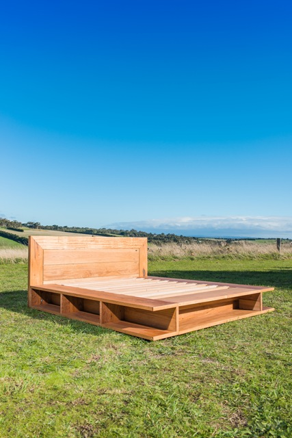 recycled timber bookcase bed