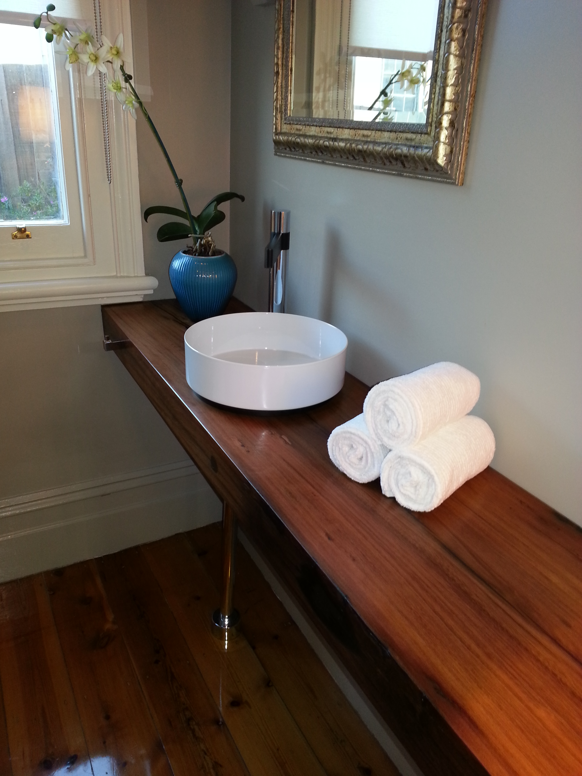 custom solid timber vanity