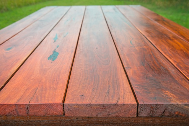 Recycled spotted gum table