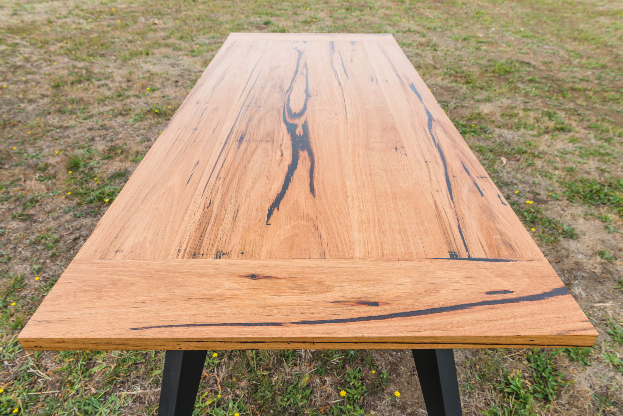 messmate timber black leg dining table