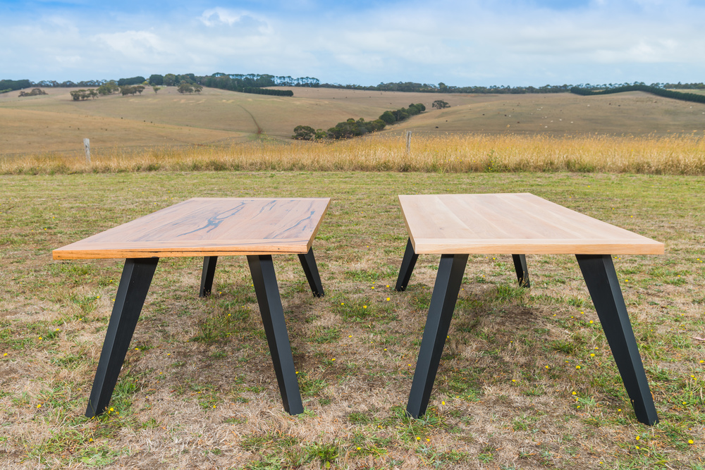 Contemporary Timber Dining Table With Black Legs