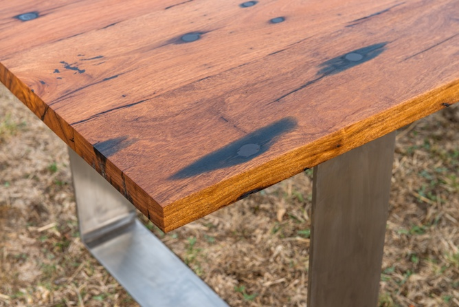 Centreside recycled timber table with stainless legs
