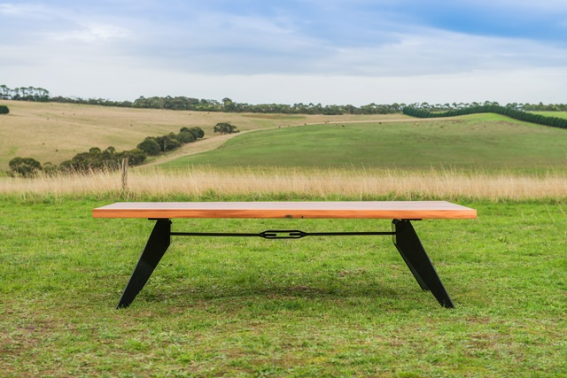 Southside reclaimed timber dining table with black metal legs