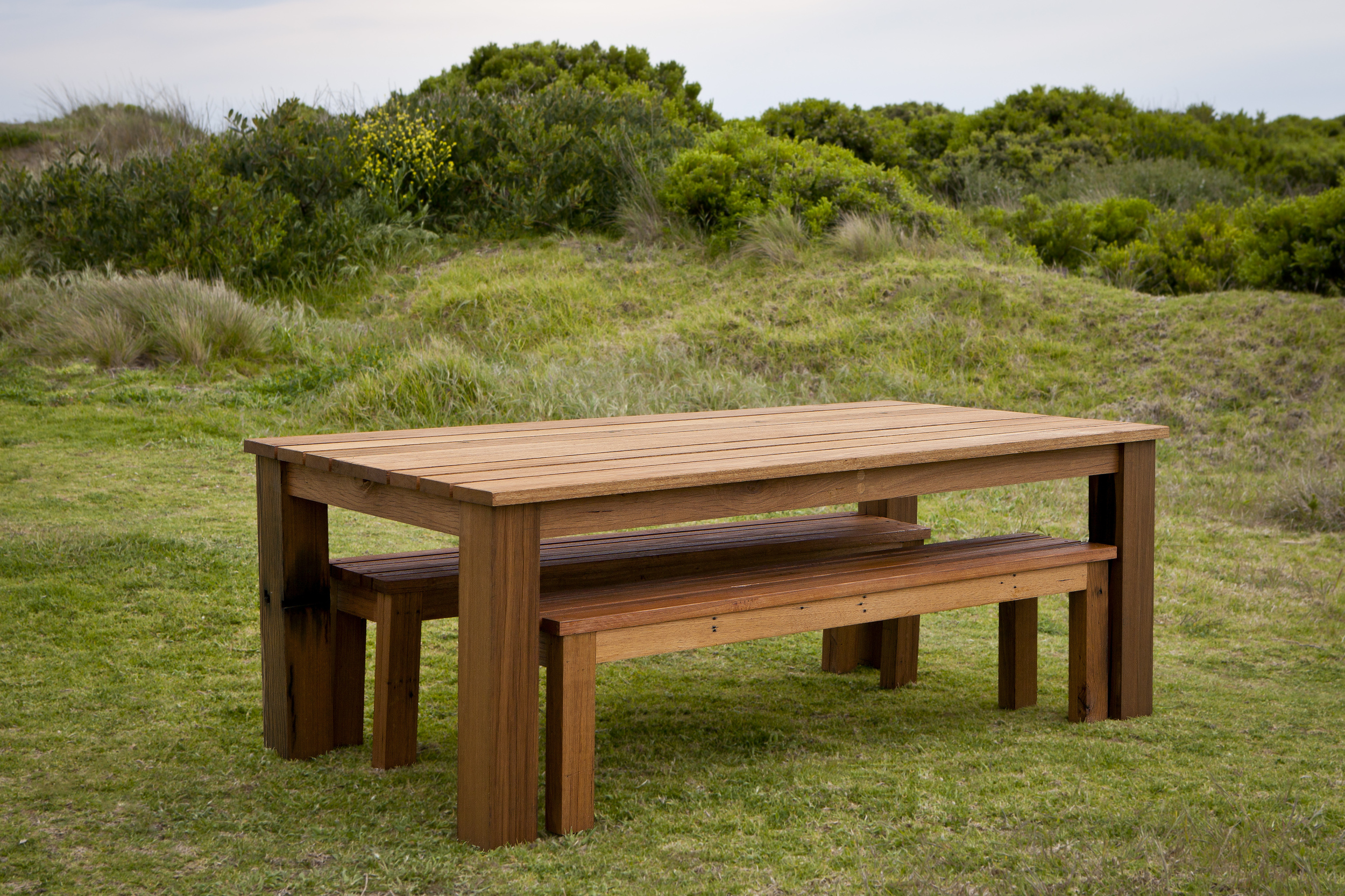 Recycled Hardwood Outdoor Dining Table, Timber Outdoor Bench Dining Table Set