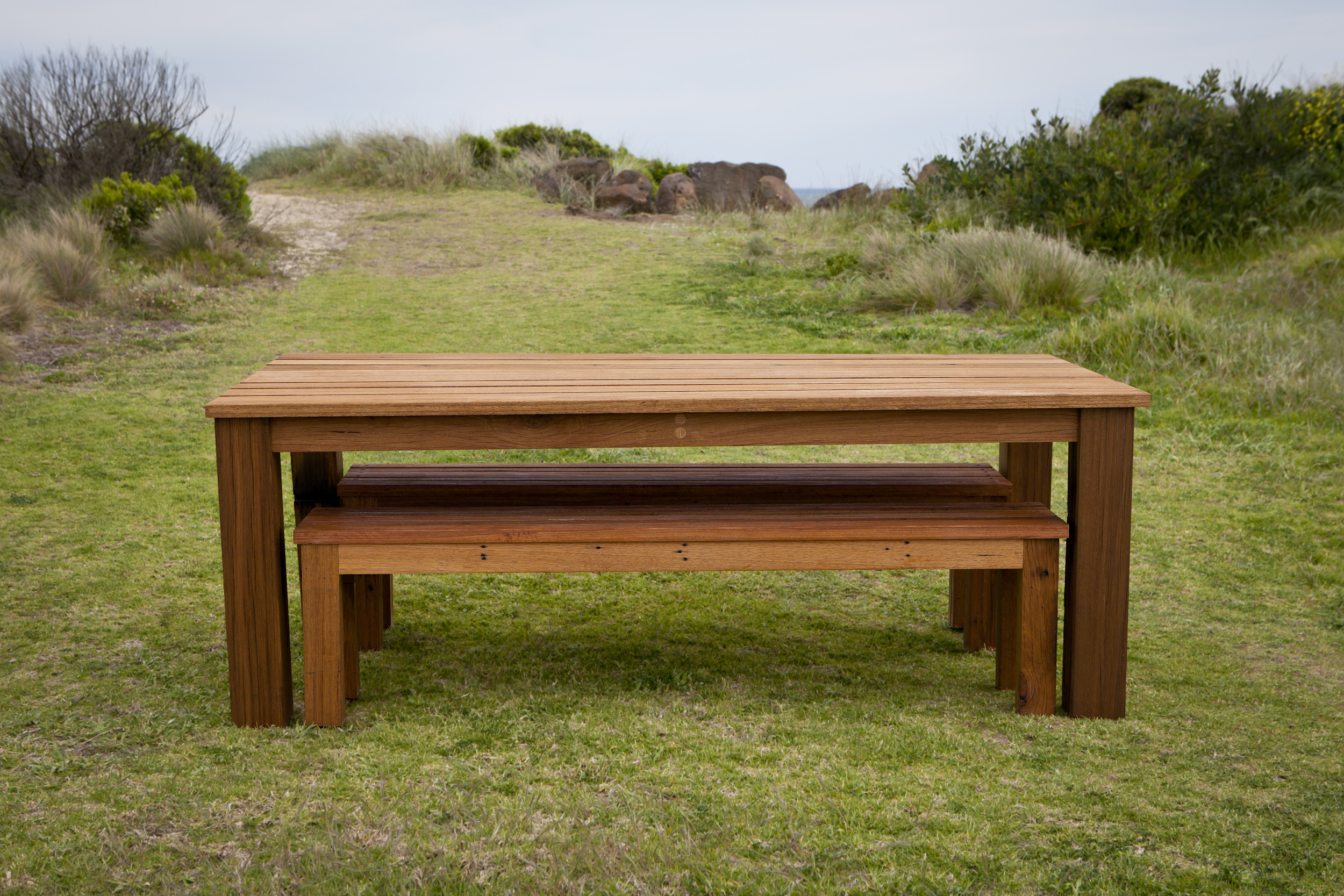outdoor dining table and bench seats