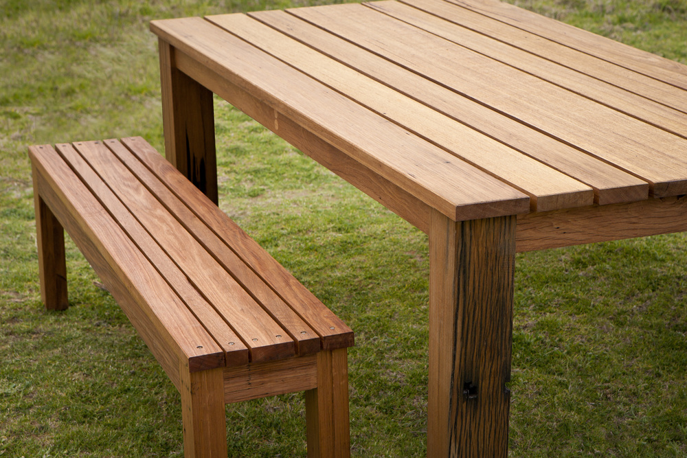 Recycled Hardwood Outdoor Dining Table, Outdoor Timber Dining Table With Bench Seats