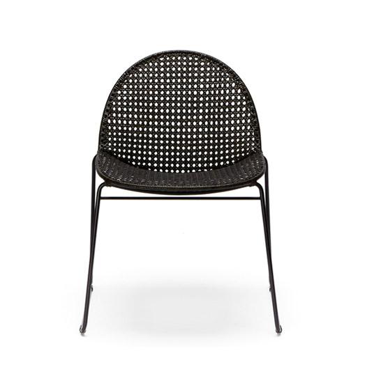 modern black rattan dining chair