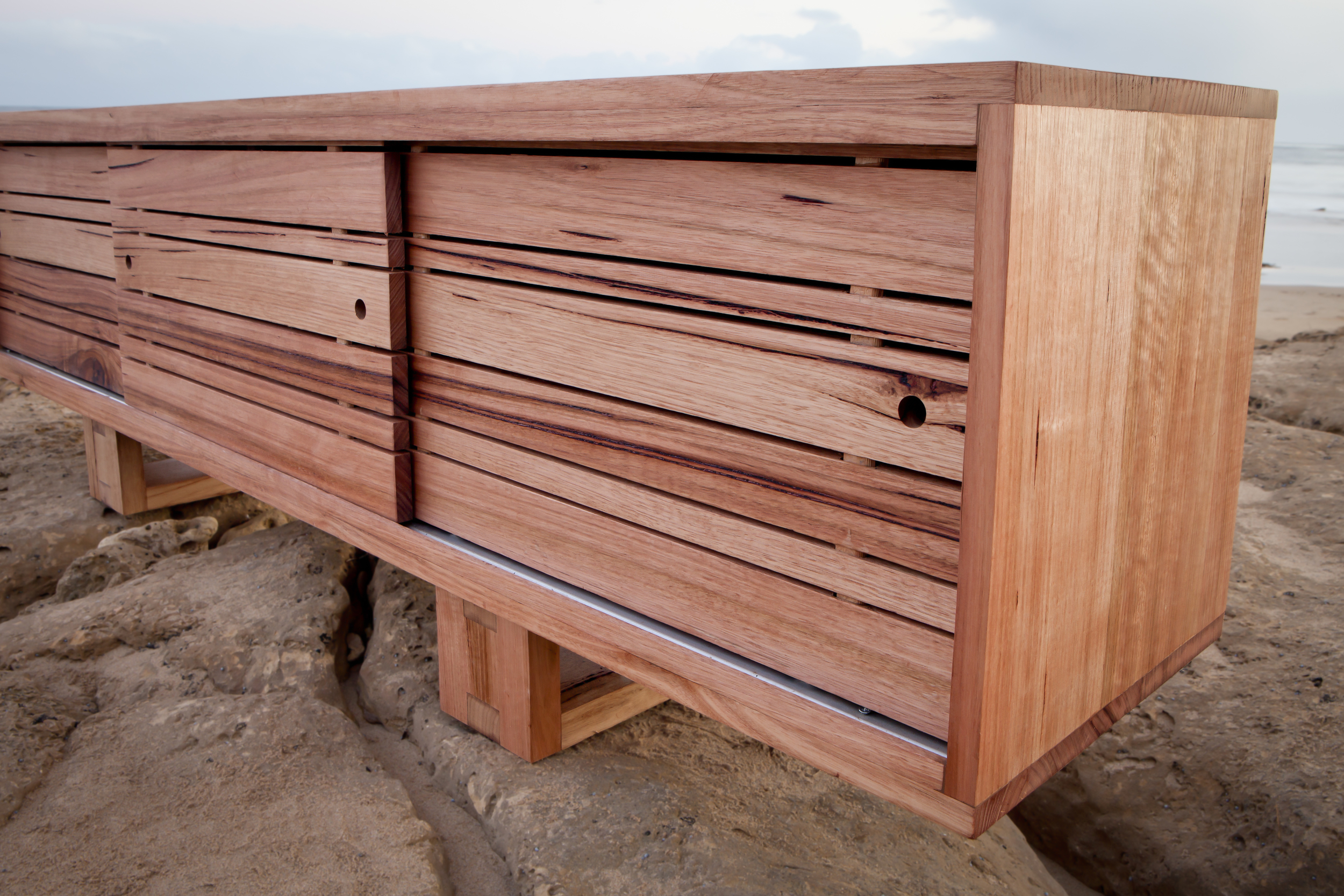 recycled timber TV cabinet