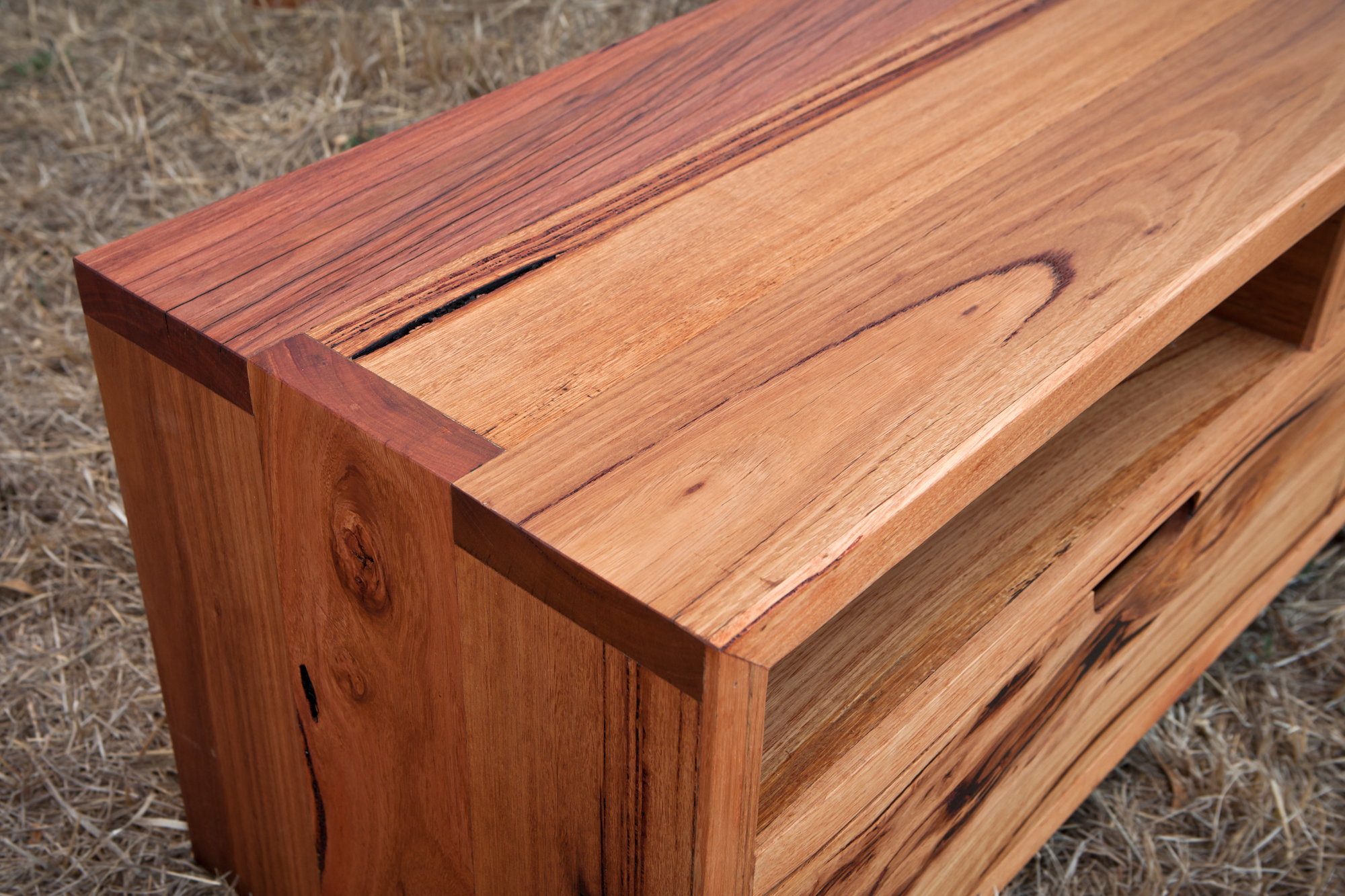 refined timber tv unit