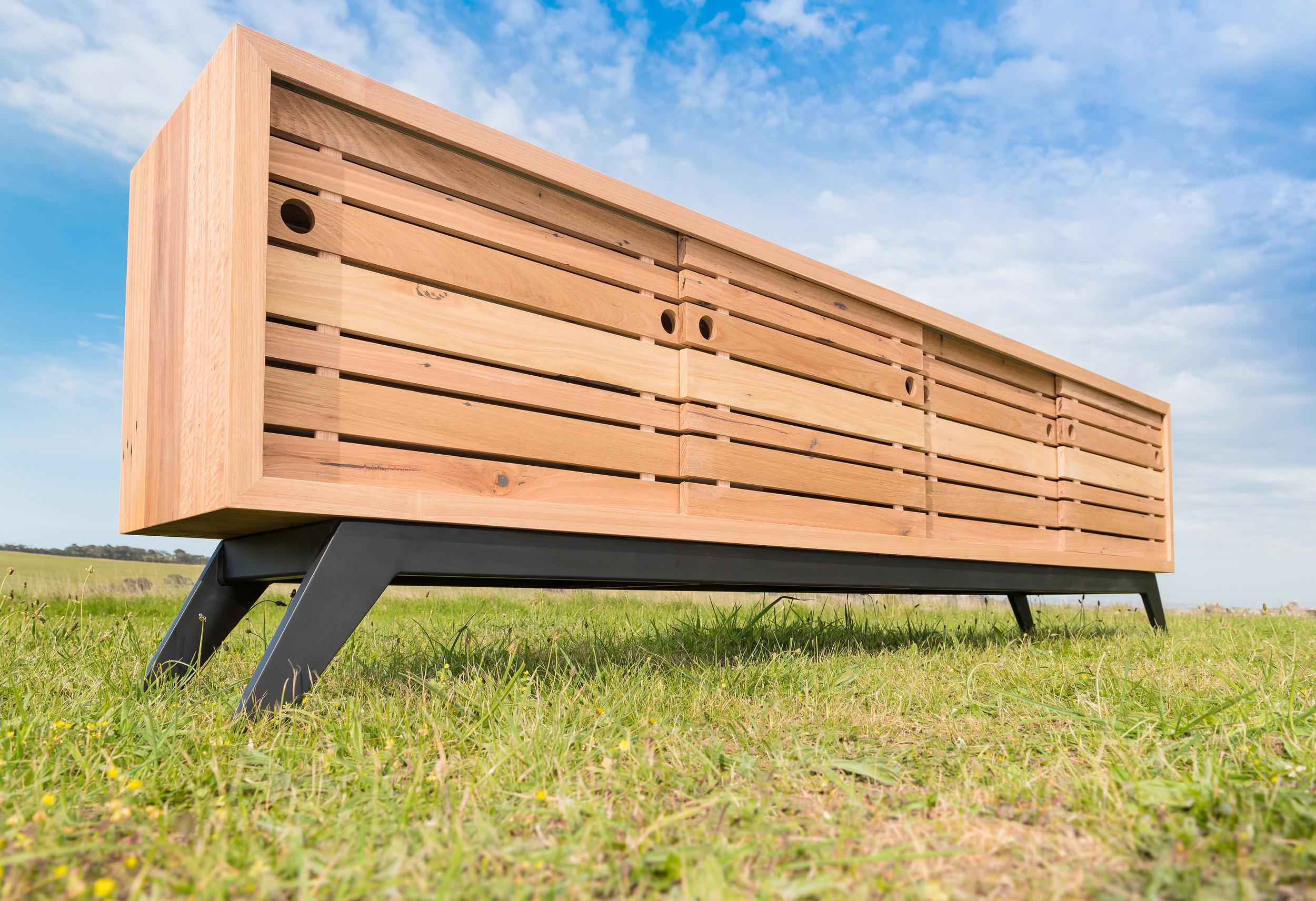 matte black metal and timber sideboard
