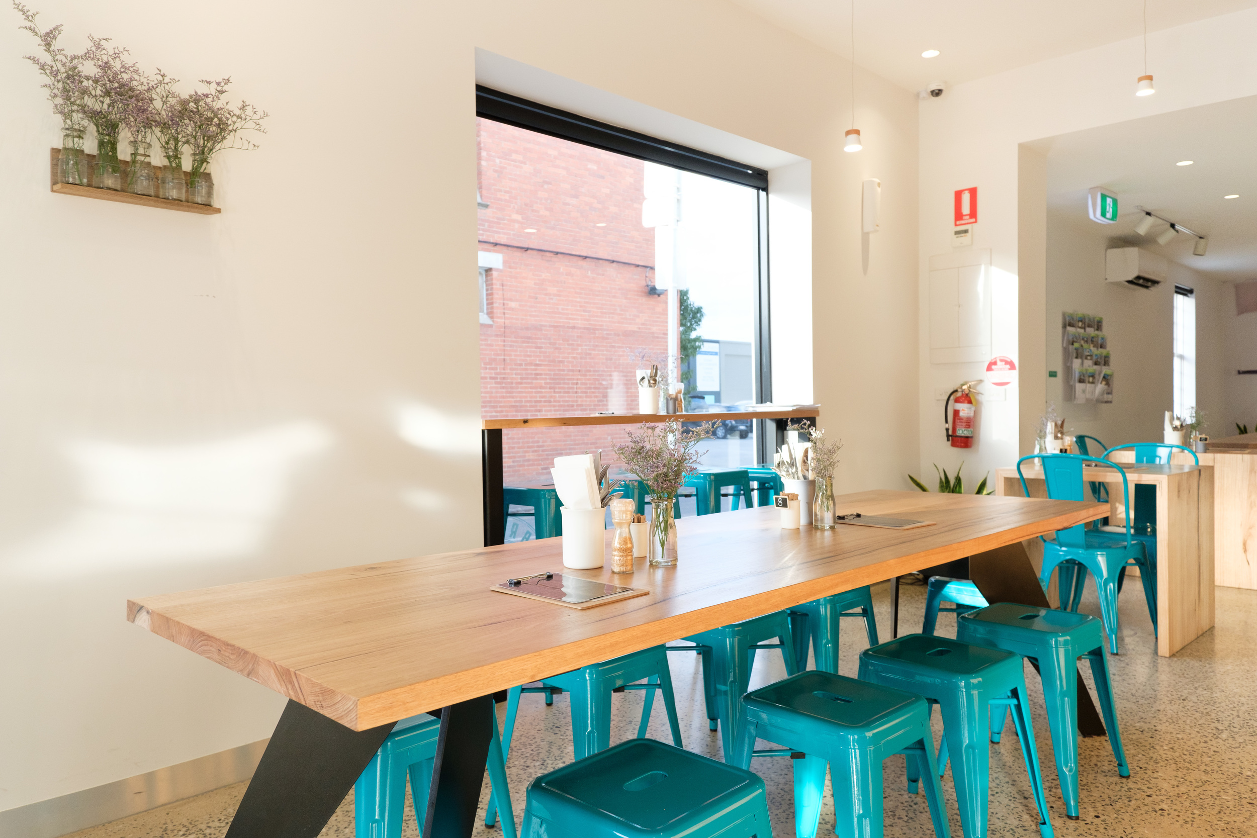 wood communal cafe table
