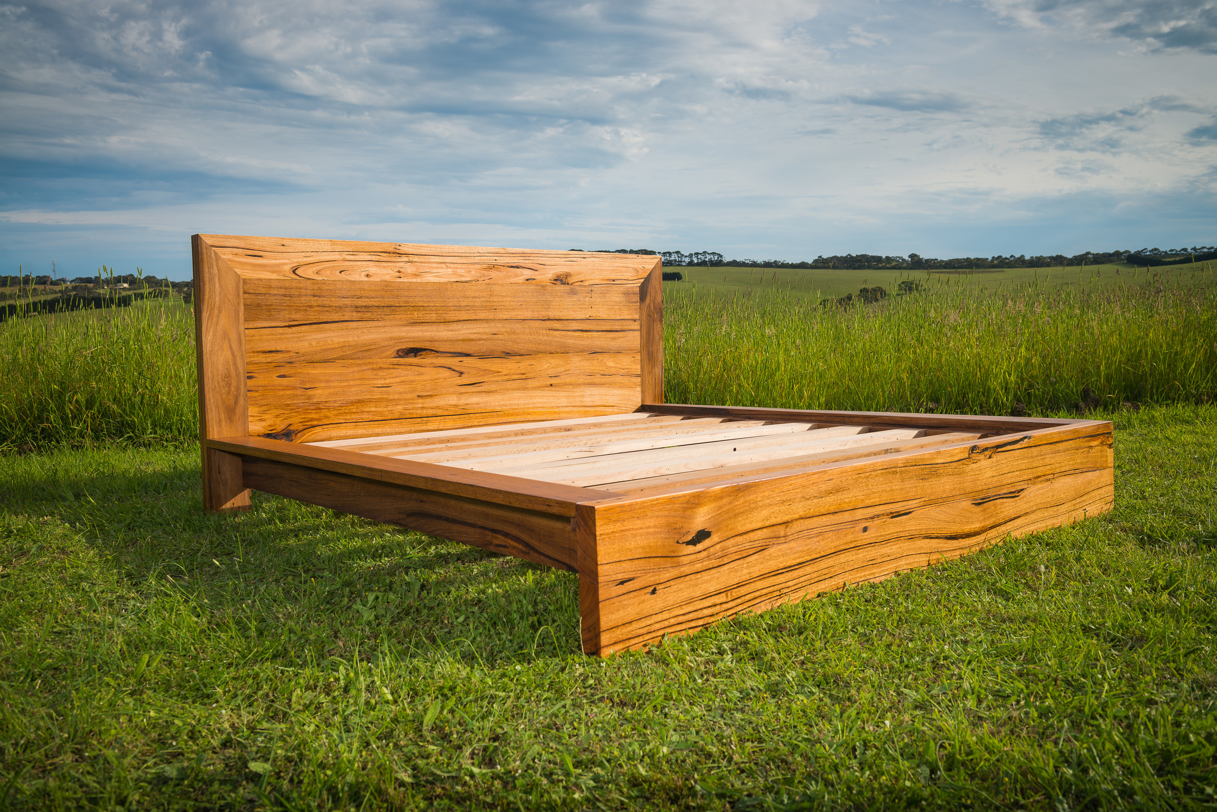 solid recycled wood bed