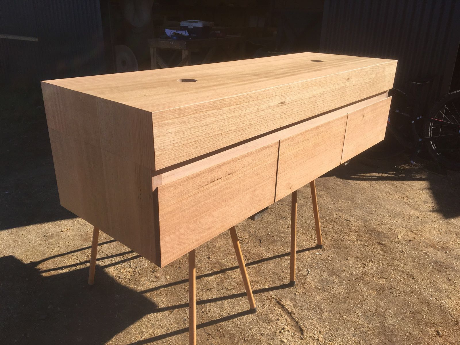 solid Australian chestnut vanity with drawers