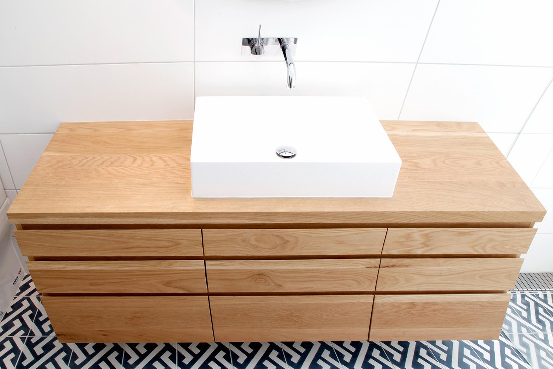 American Oak benchtop vanity