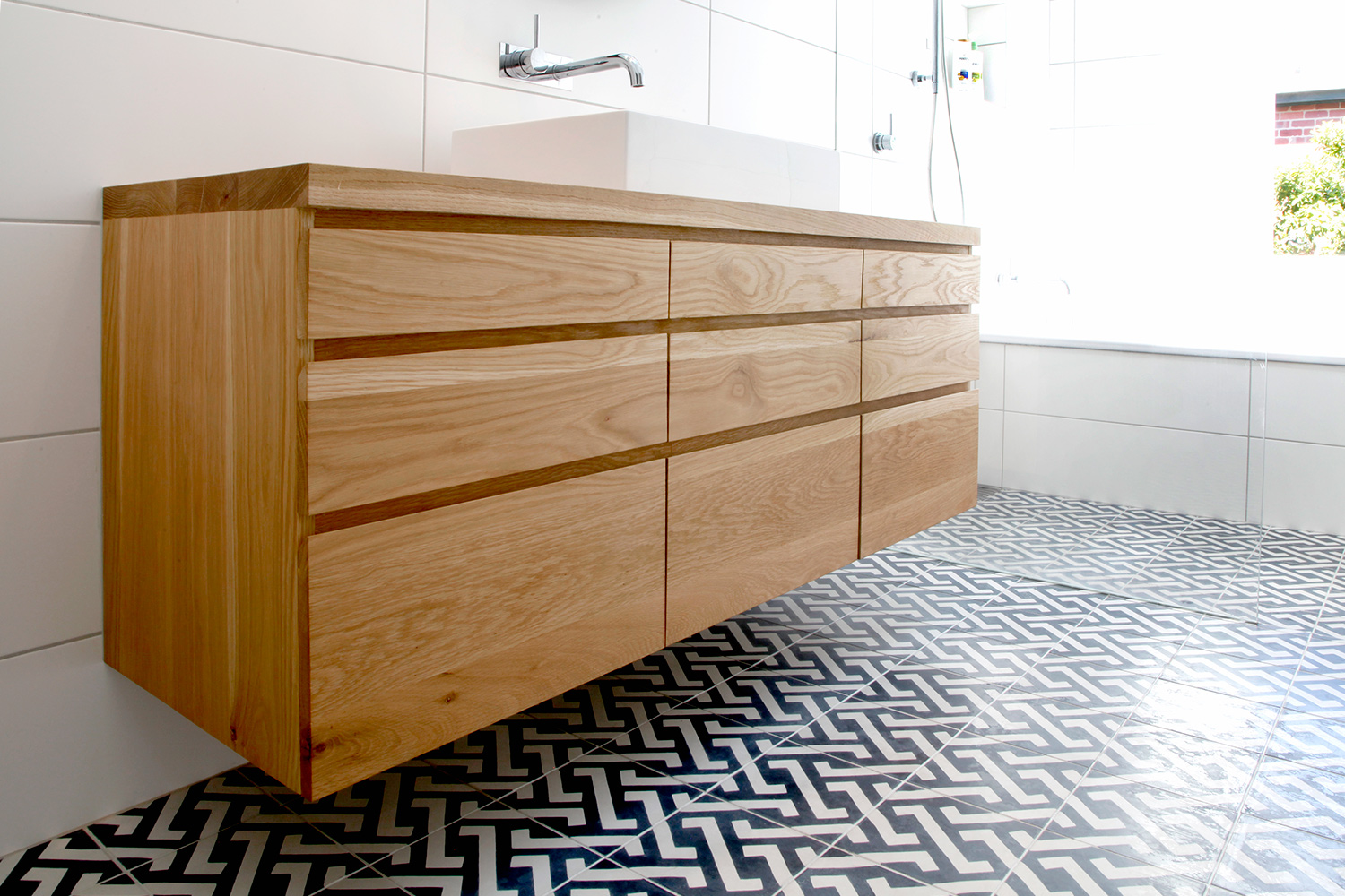 Wall mounted timber vanity unit