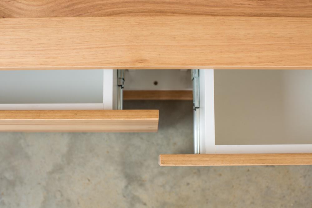 custom floating timber vanity